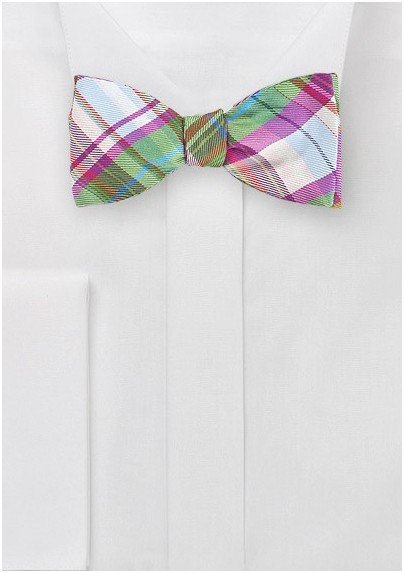 Vibrant Plaid Bow Tie in Pinks and Greens