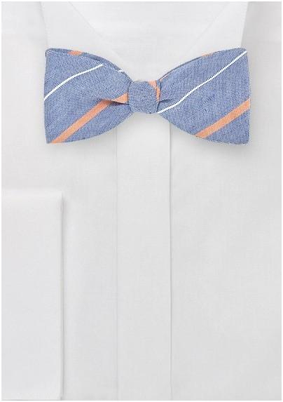 Vintage Blue Striped Bow Tie