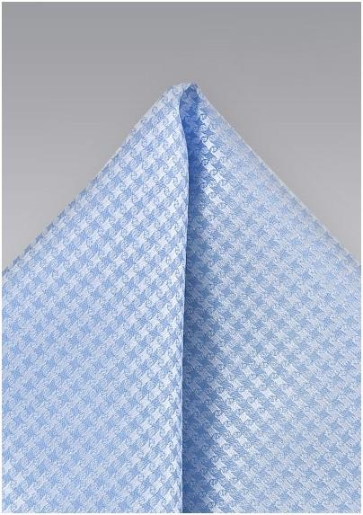 Light Blue Houndstooth Pattern Pocket Square