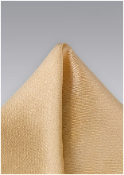 Solid Hued Pocket Square in Champagne