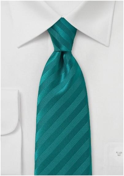 Teal Striped Men's Necktie