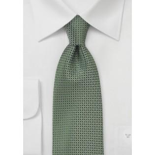 Olive Necktie with Silver Dot Design