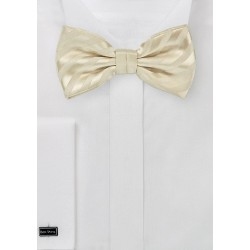 Vanilla-Yellow Striped Bow Tie