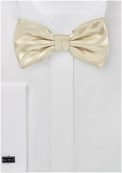 Vanilla-Yellow Striped Bow Tie