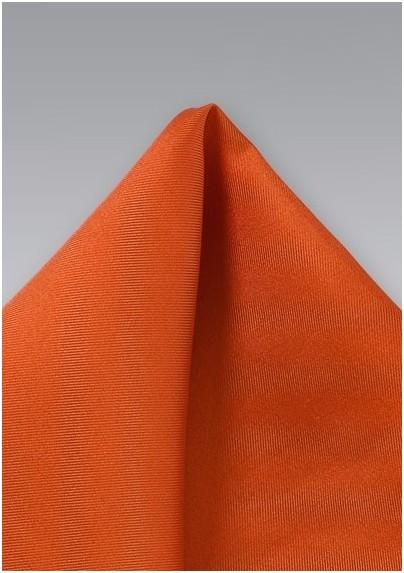 Persimmon-Orange Silk Pocket Square