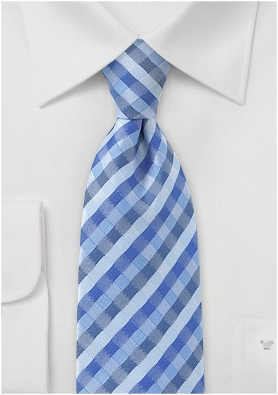 f61c6884768 Tonal Blue Check Pattern Tie for Kids