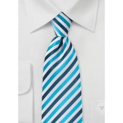 Comtemporary Blue Striped Kids Tie