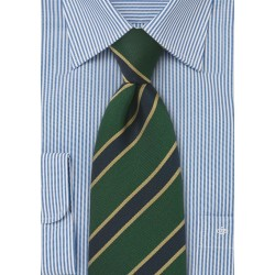 British Stripe Kids Tie in Gold, Navy and Green
