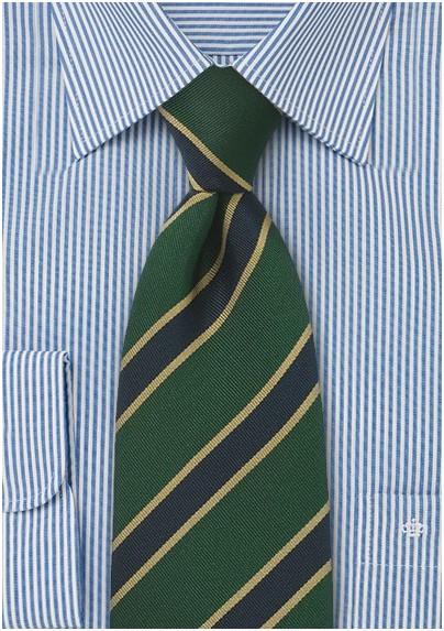 British Stripe Kids Tie in Gold, Navy and Green