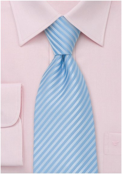 Light Powder Blue Striped Necktie