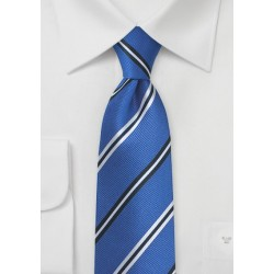 Horizon Blue Necktie with Repp Textured Stripes