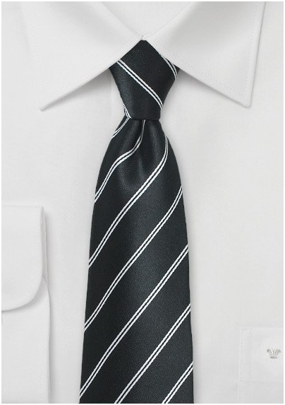 Onyx Double Striped Necktie in Silk
