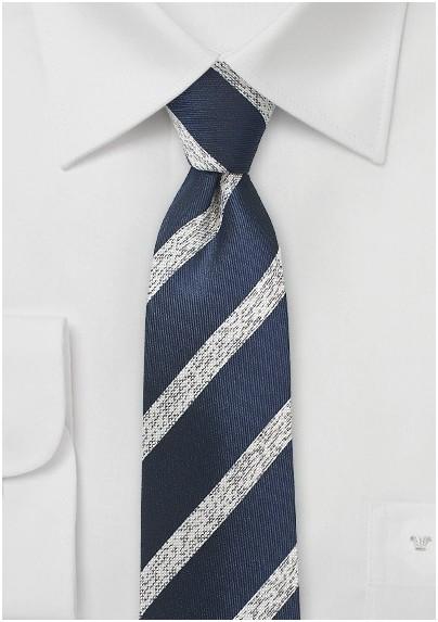 Textured Striped Skinny Tie in Navy