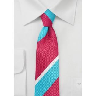 Trendy Narrow Tie in Aqua and Pink