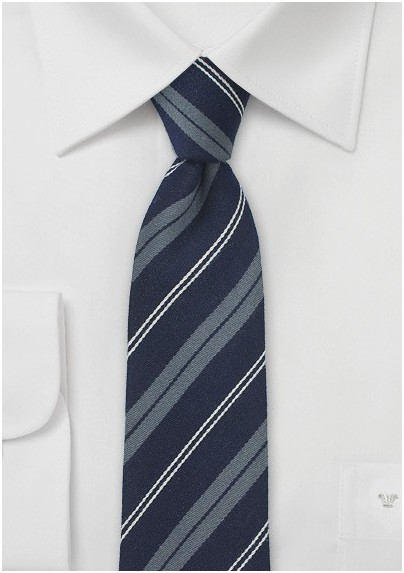 Designer Wool Tie in Navy and Stripes