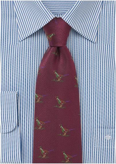 Burgundy Silk Tie with Pheasant Birds