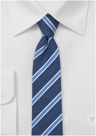 Linen Striped Skinny Tie in Summer Blue