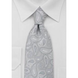 Silver Gray Paisley Kids Tie