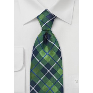 XL Length Plaid Tie in Spring Green and Blue