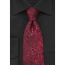 XL Floral Motif Tie in Red and Black