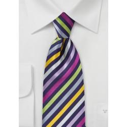 Striped Multi-Colored Tie in XL Length