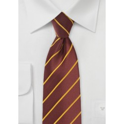 Cinnamon Hued Tie with Narrow Mustard Stripes in Kids Size
