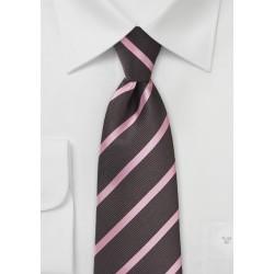Espresso and Pink Striped Kids Neck Tie