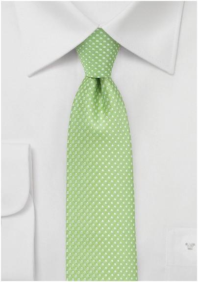 Pin Dot Necktie in Spring Green