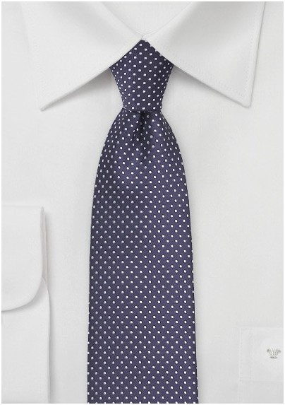Narrow Pin Dot Tie in Dark Eggplant Purple