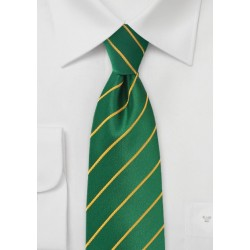 Extra Long Striped Tie in Greens and Golds