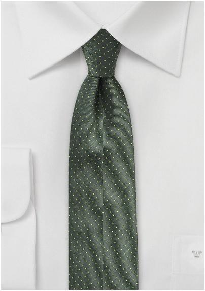 Dark Green Skinny Tie with Bright Yellow Pin Dots