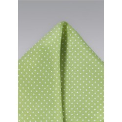 Light Sage Color Pocket Square with Dots