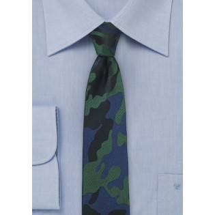 Navy, Black, and Green Camo Necktie in Silk