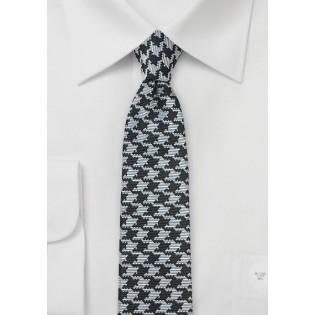 Skinny Black & Silver Houndstooth Tie