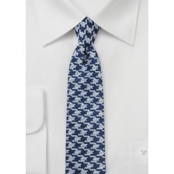 Skinny Designer Tie in Navy and Silver