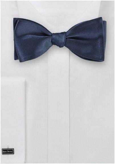 Navy Blue Silk Bow Tie (self tie)