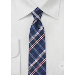 Red and Blue Plaid Skinny Tie