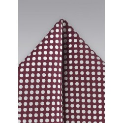 Bold Polka Dot Pocket Square in Burgundy