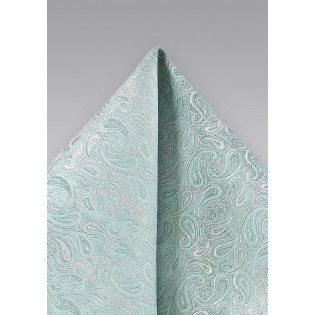 Elegant Paisley Pocket Square in Soft Mint