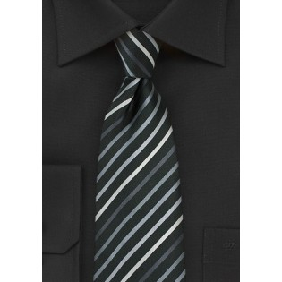 Black XL Length Tie With White, Silver & Gray Stripes