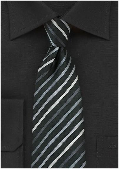 Kids Necktie in Black with Silver Stripes