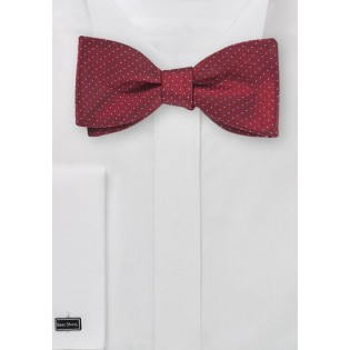 Cherry Colored Pin Dot Bow Tie