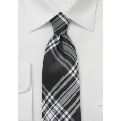 Black and White Plaid Necktie