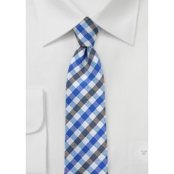 Gingham Necktie in Blues and Grays
