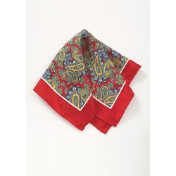 Silk Pocket Square in Red with Paisley Print