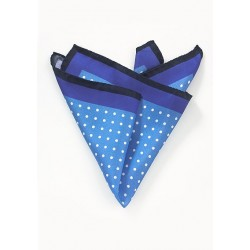 Navy, Blue, and White Polka Dot Pocket Square