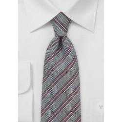 Red and Gray Glen Check Silk Tie