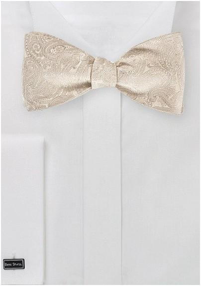 Light Cream Colored Paisley Bow Tie (self tie)