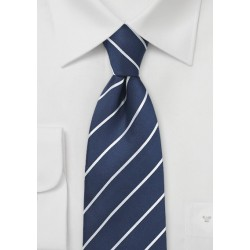 Pencil Stripe Silk Tie in Navy