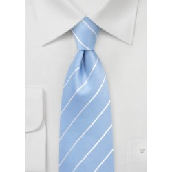 Sky Blue Tie with White Pencil Stripes
